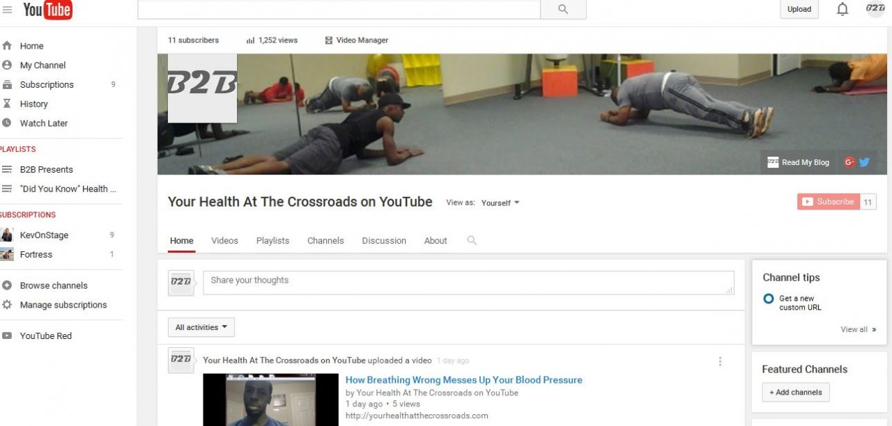 Visit Your Health At The Crossroads on YouTube!